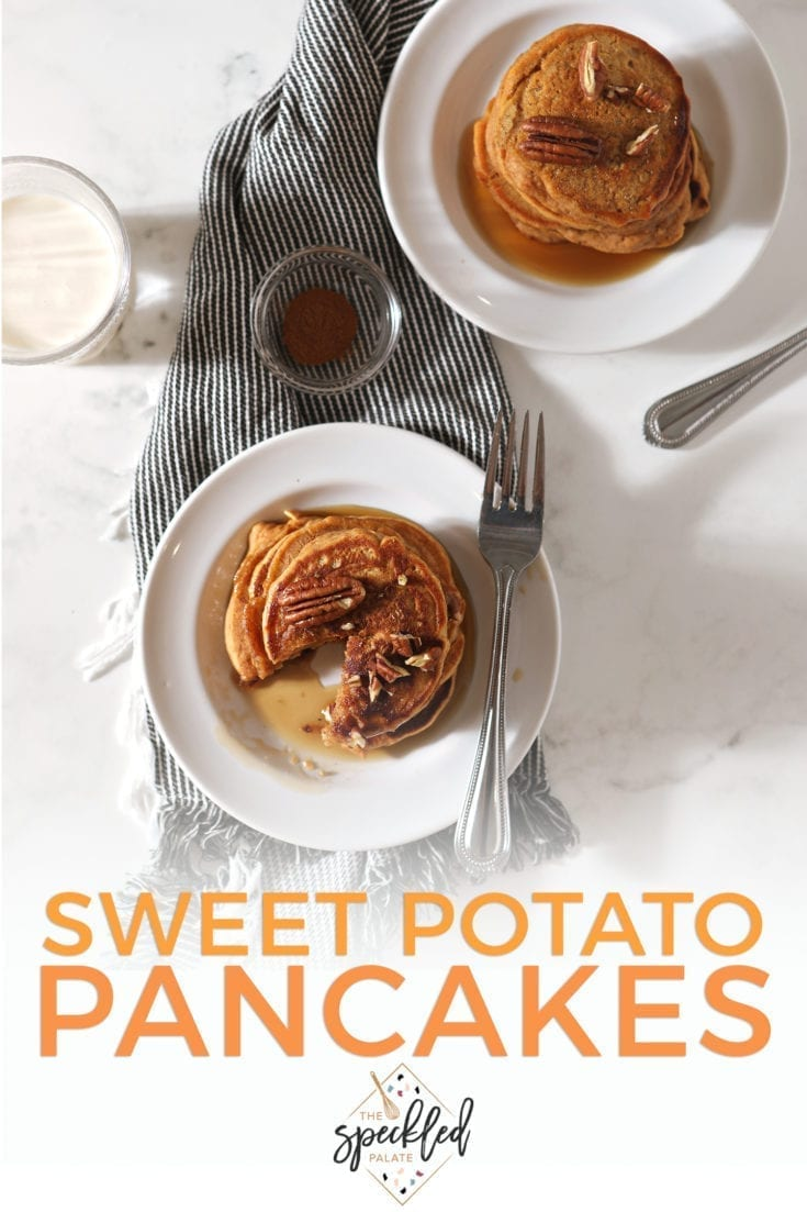 Elevate your pancake game with Sweet Potato Pancakes. These easy-to-make pancakes, which use sweet potato puree in their batter, are fun to make for brunch. #easyentertaining #speckledpalate