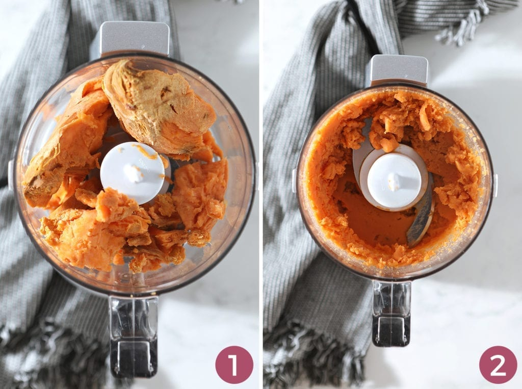 Collage showing the before and after of making the sweet potato puree