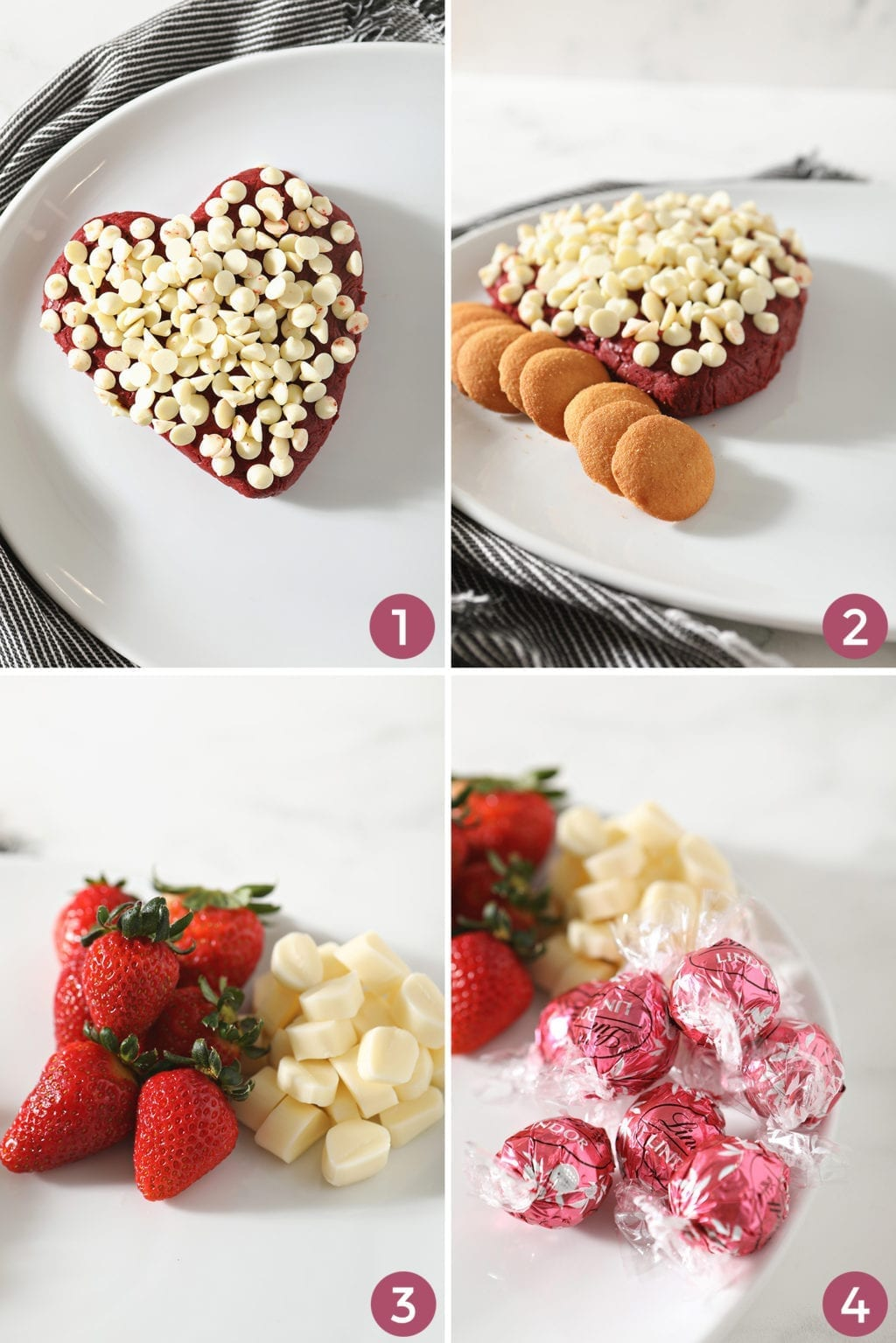 A collage of four images shows how to place ingredients onto the tray to make the board