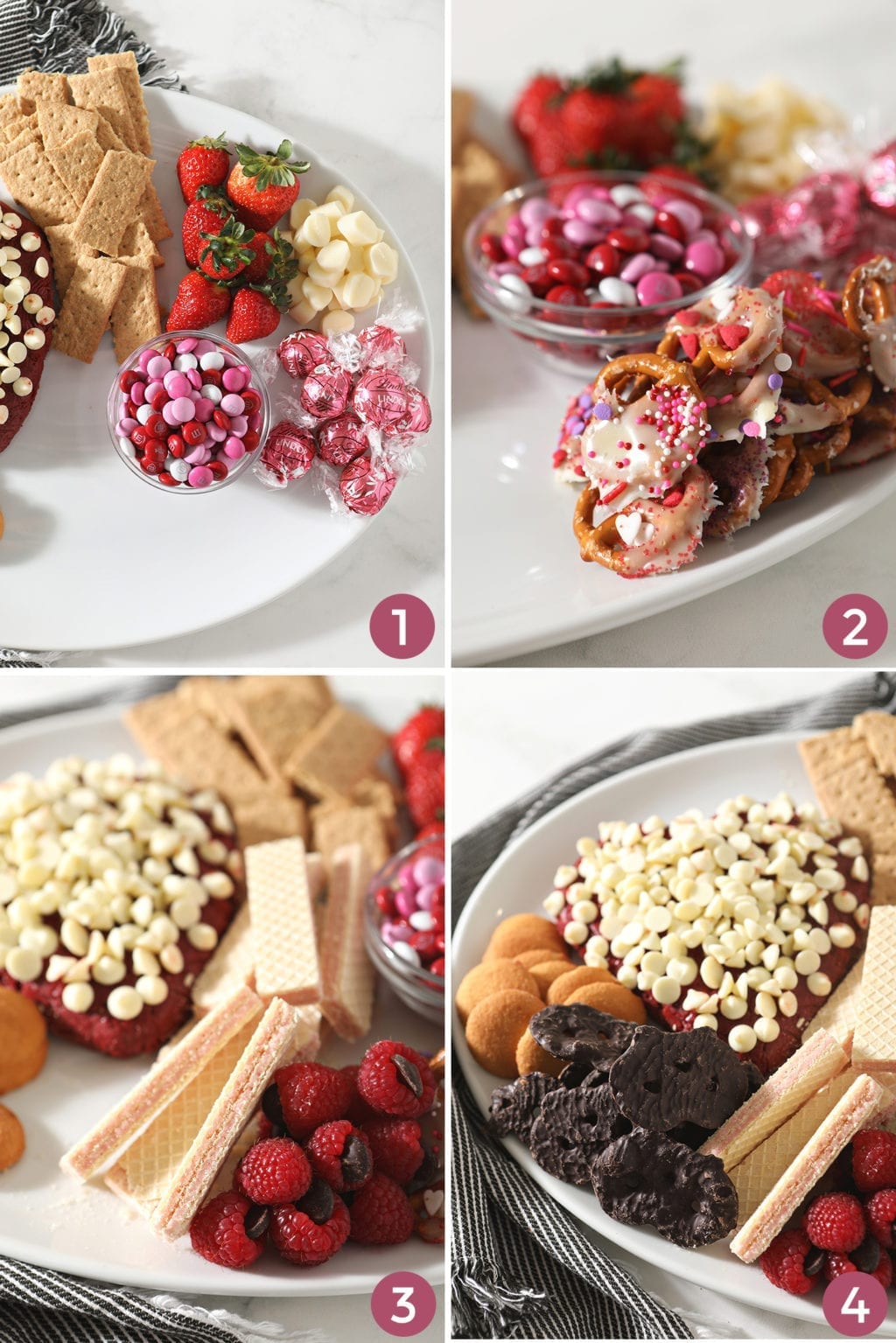 A collage of four images shows how to fill in the holes on the board and how to finish the dessert display
