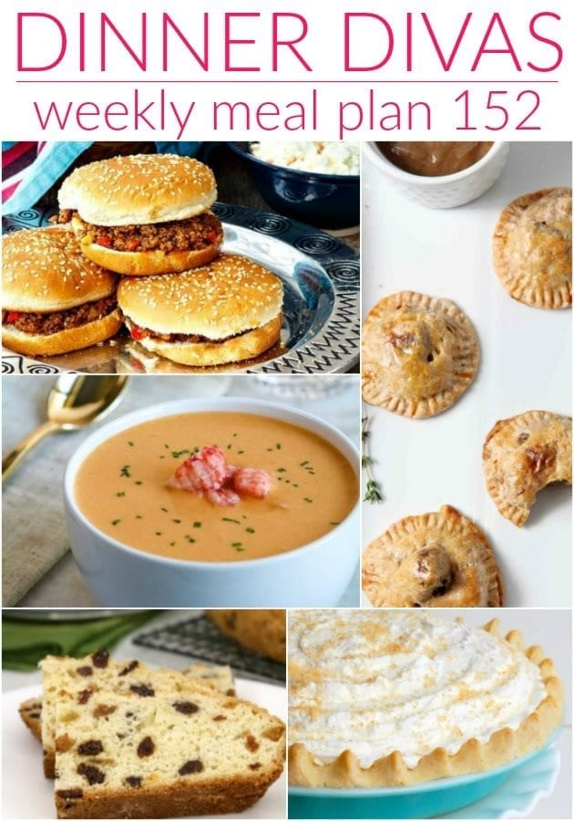 Collage for Dinner Divas Weekly Meal Plan 152, featuring five of the seven recipes shared