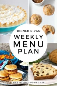 Collage for Dinner Divas Weekly Meal Plan 152, featuring four of the seven recipes shared