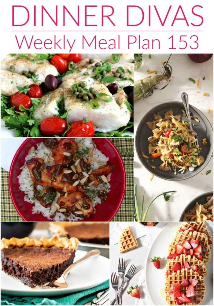 Collage for Dinner Divas Weekly Meal Plan 153, featuring five of the seven recipes shared