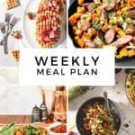 Collage for Dinner Divas Weekly Meal Plan 153, featuring four of the seven recipes shared