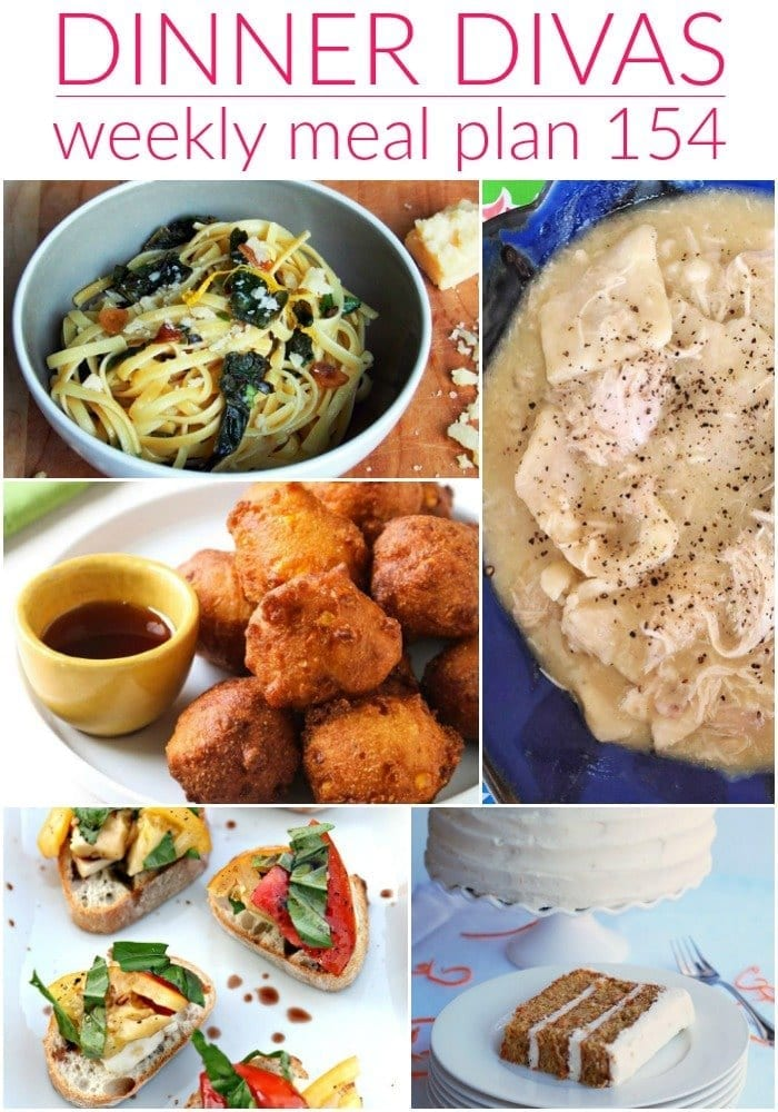 Collage for Dinner Divas Weekly Meal Plan 154, featuring five of the seven recipes shared