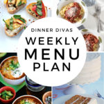 Collage for Dinner Divas Weekly Meal Plan 154, featuring four of the seven recipes shared
