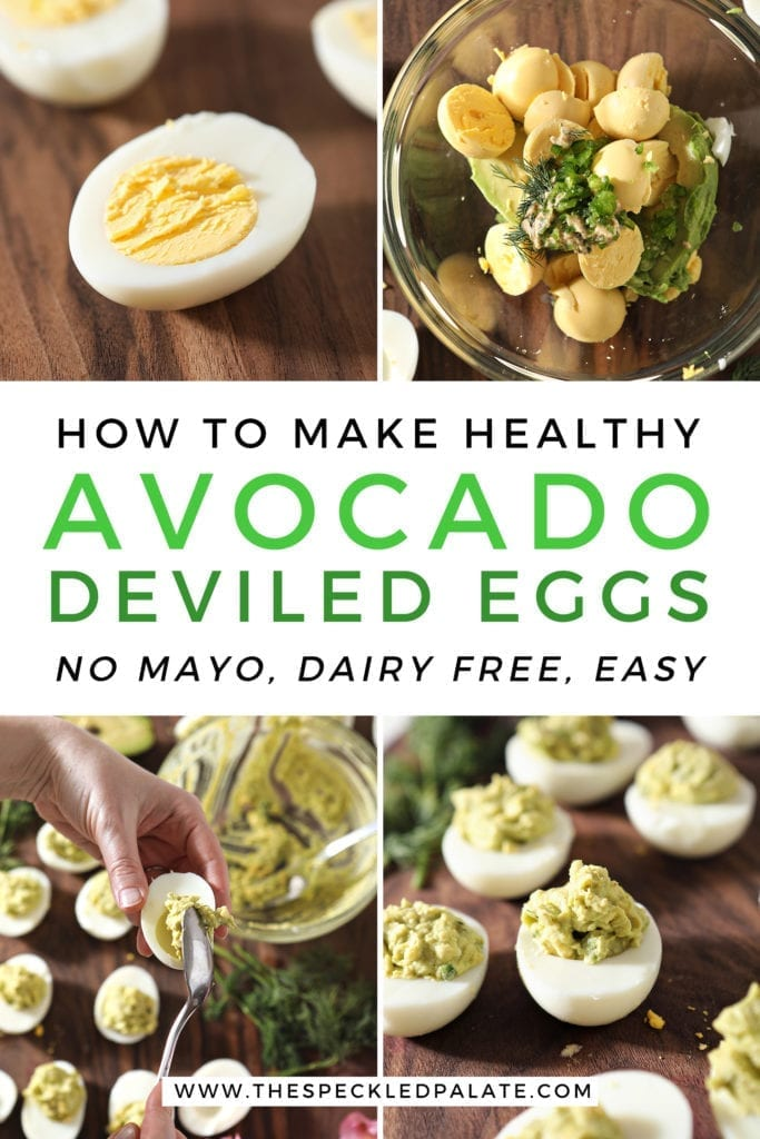 Collage showing how to make avocado deviled eggs with Pinterest text