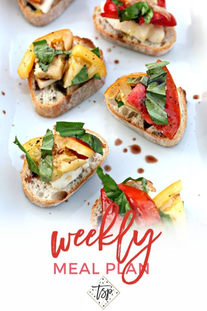Collage for Dinner Divas Weekly Meal Plan 154, featuring an overhead of a platter of Heirloom Tomato Bruschetta
