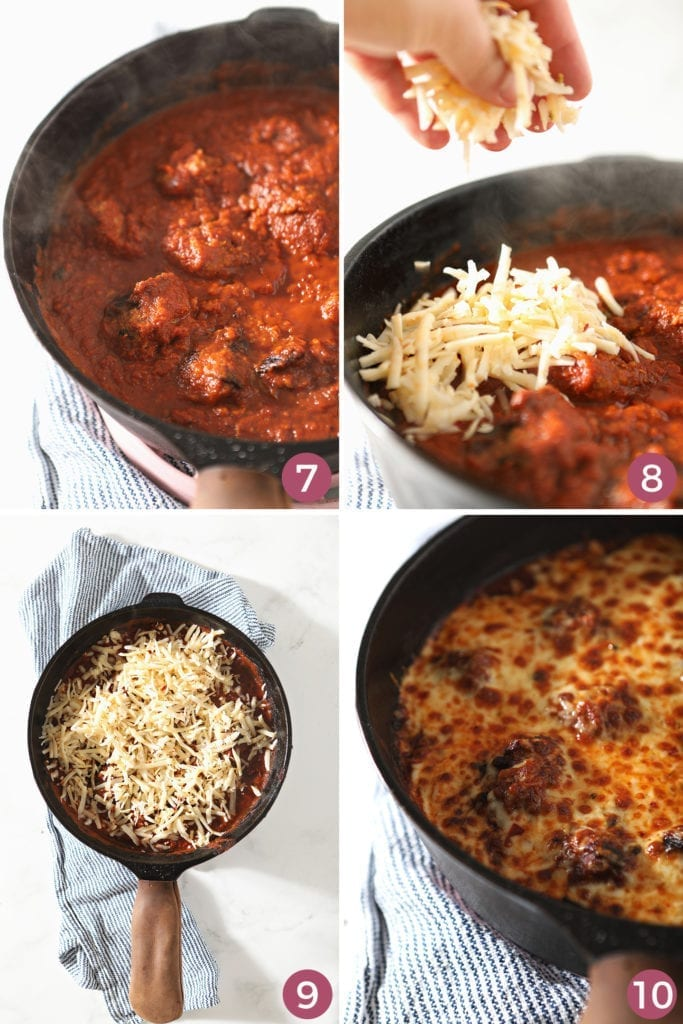 A collage of four images showing meatballs in the pan with sauce before cheese is added and broiled, before serving