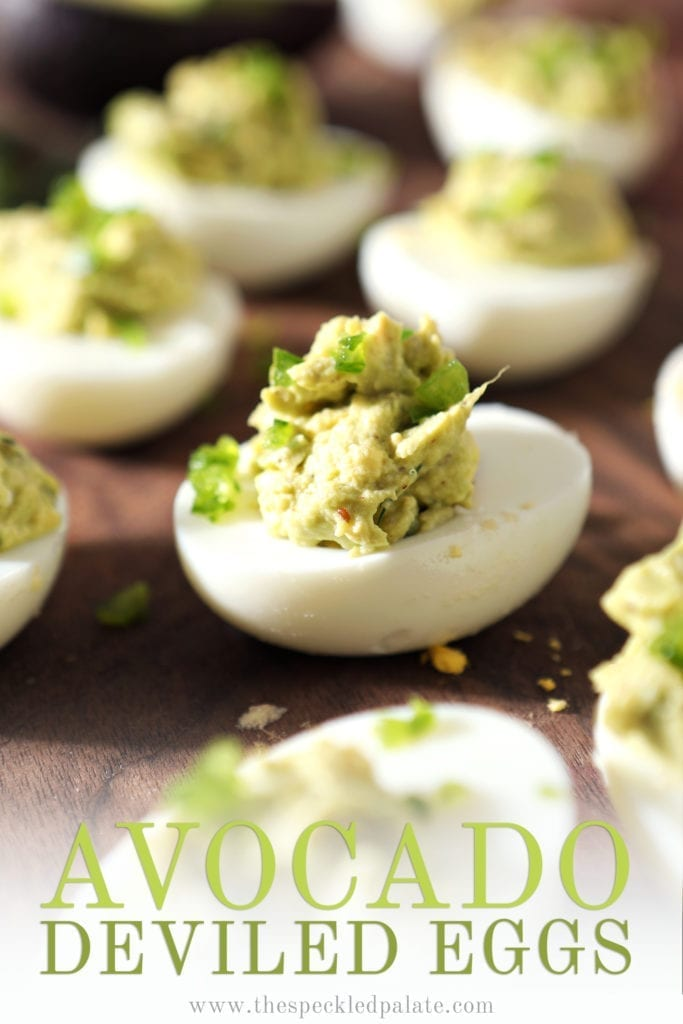 Close up of an Avocado Deviled egg, with Pinterest text