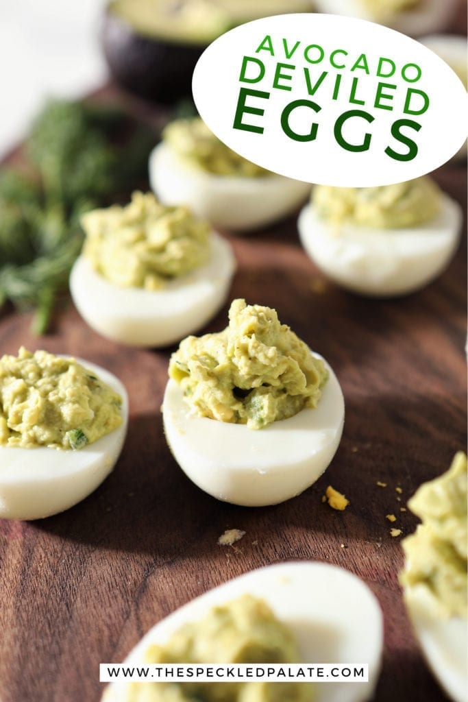 Close up of Avocado Deviled Eggs on a wal