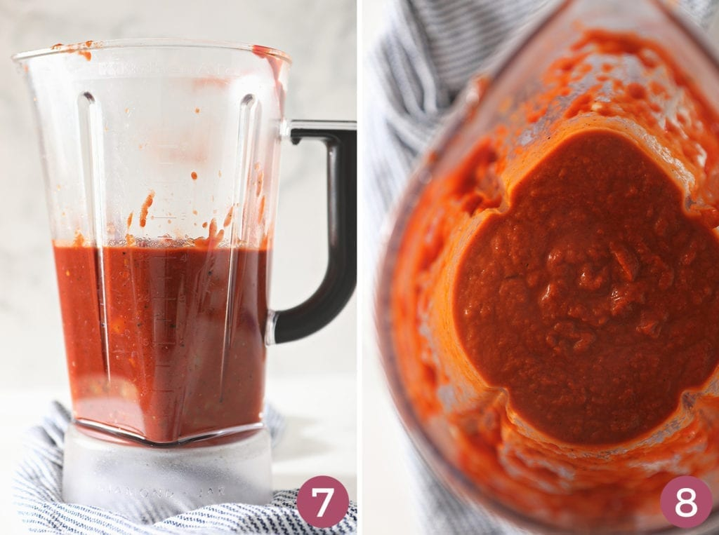 A collage of two images showing how the enchilada sauce should look in the blender, before and after blending