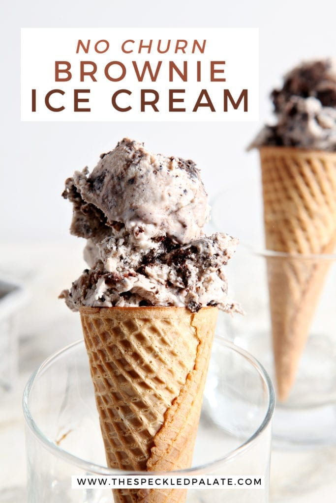 Close up of two scoops of brownie ice cream on cones, with Pinterest text