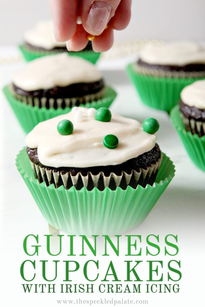 Close up of a Guinness Cupcake with sprinkles being added and Pinterest text