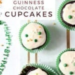 Overhead of decorated Guinness Cupcakes, with Pinterest text