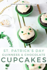 Overhead of decorated Chocolate Guinness Cupcakes, before consuming, with Pinterest text