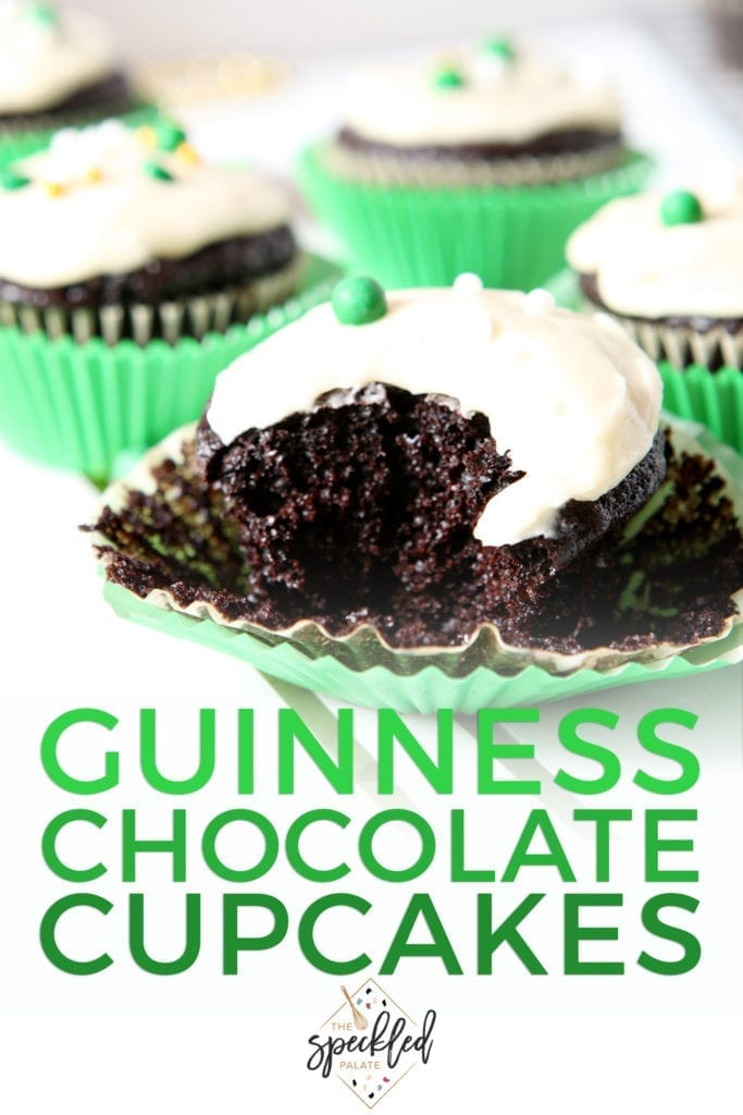 Close up of a bitten into Chocolate Guinness Cupcake, with Pinterest text
