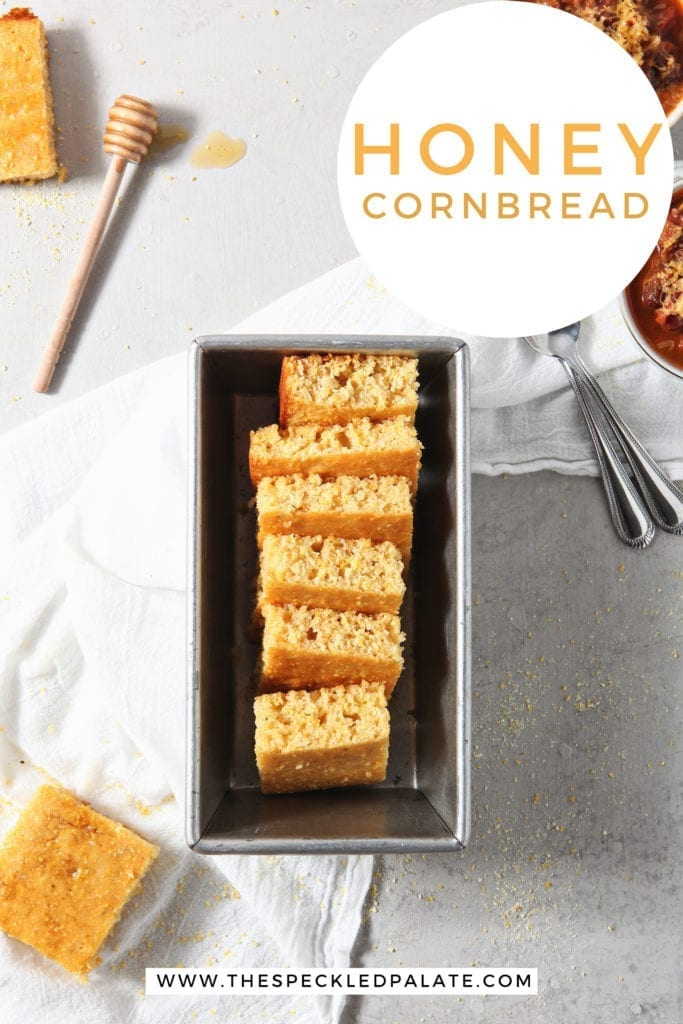 Cornbread, stacked in a baking dish, is shown with chili and ingredients from above, with Pinterest text