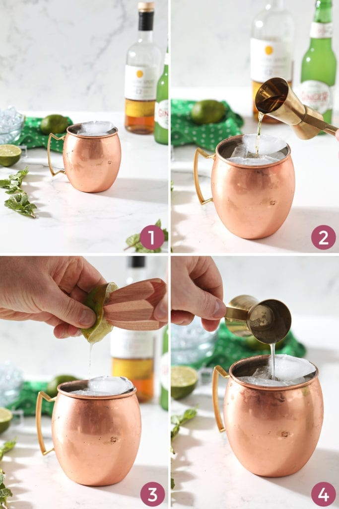 A collage of four images shows how to mix the Moscow Mule variation