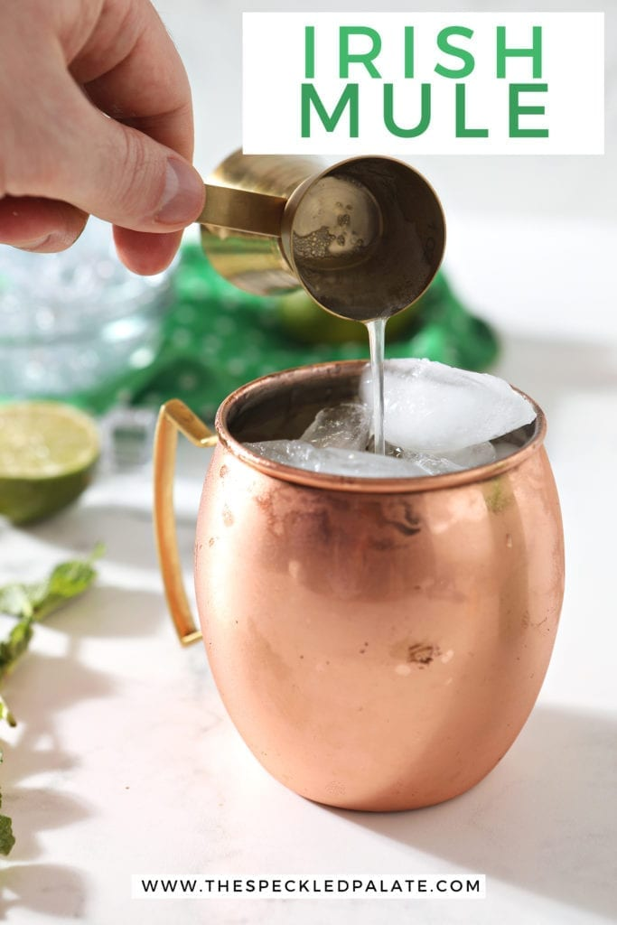 Ginger beer is poured into a copper mug, with Pinterest text