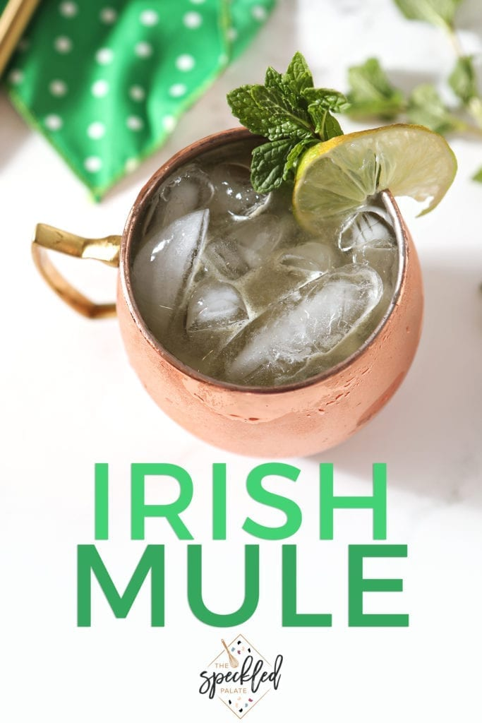 Overhead of an Irish Mule in a copper mug, with Pinterest text