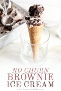 An ice cream cone sits in a glass, with Pinterest text