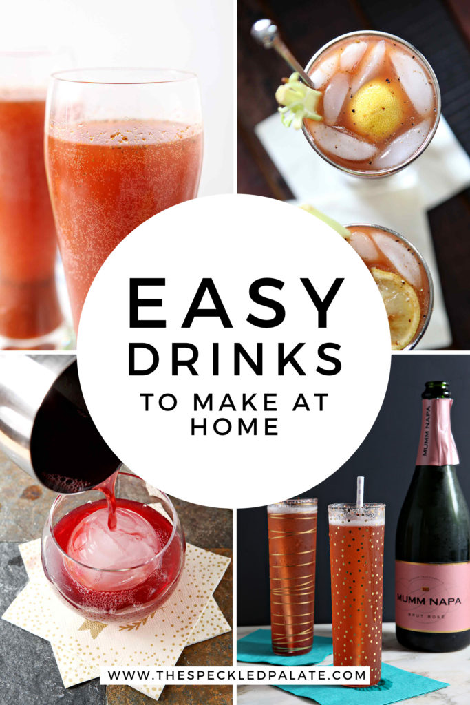 Collage showing 4 simple cocktails to make at home with Pinterest text