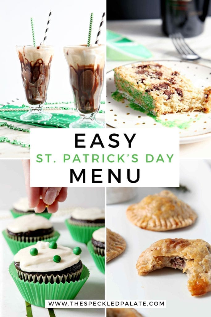 Collage of four images showing Easy St. Patrick's Day menu items