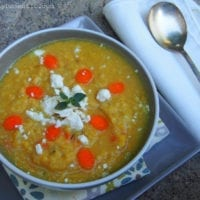 Monday's Dinner: Lemony Garlic Lentil Soup with Feta