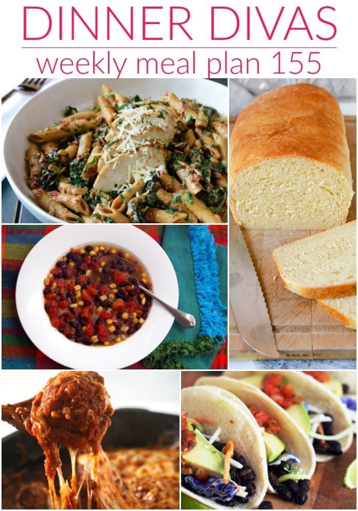 Collage for Dinner Divas Weekly Meal Plan 155, featuring five of the seven recipes shared