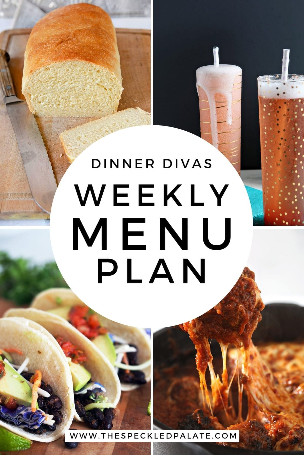 Collage for Dinner Divas Weekly Meal Plan 155, featuring four of the seven recipes shared