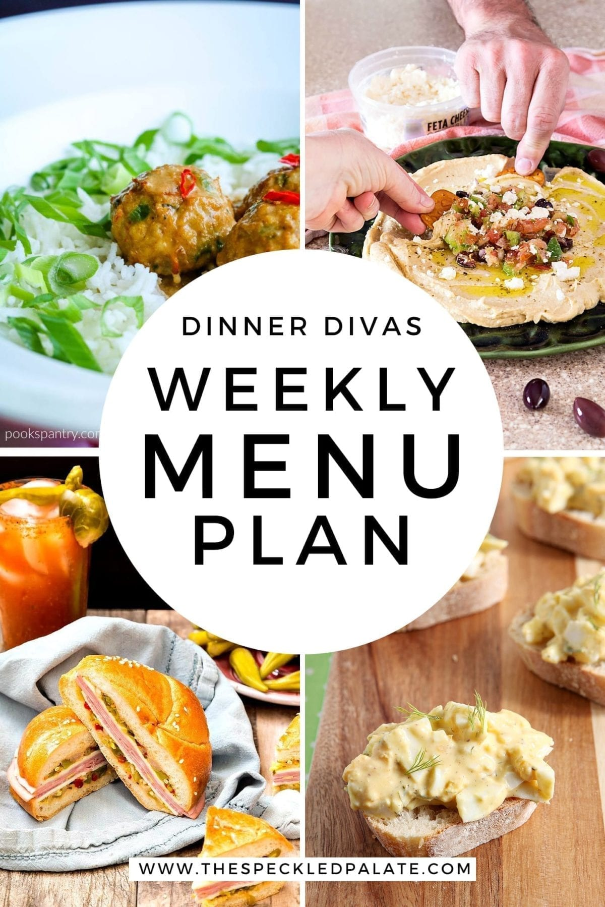 Collage for Dinner Divas Weekly Meal Plan 156, featuring four of the seven recipes shared