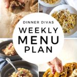Collage for Dinner Divas Weekly Meal Plan 157, featuring four of the seven recipes shared