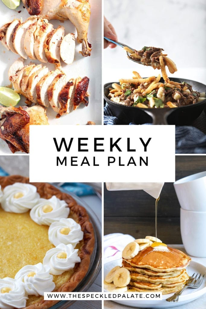 Collage for Dinner Divas Weekly Meal Plan 158, featuring four of the seven recipes shared