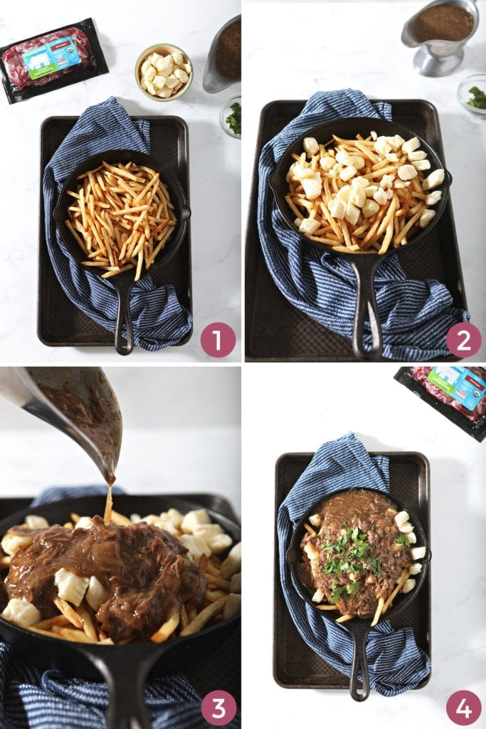 Collage showing how to assemble Canadian poutine fries