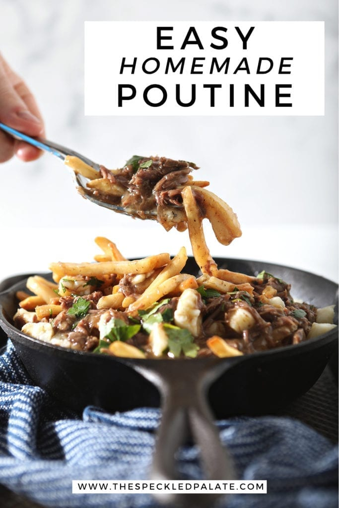 A spoon pulls poutine fries and gravy out of a skillet, with Pinterest text
