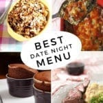 Collage of four images illustrating dishes for an At Home Date Night, with text