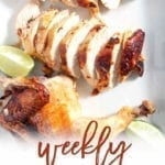 Pinterest image for Dinner Divas Weekly Meal Plan 158, featuring a closeup of Chipotle Lime Spicy Beer Can Chicken