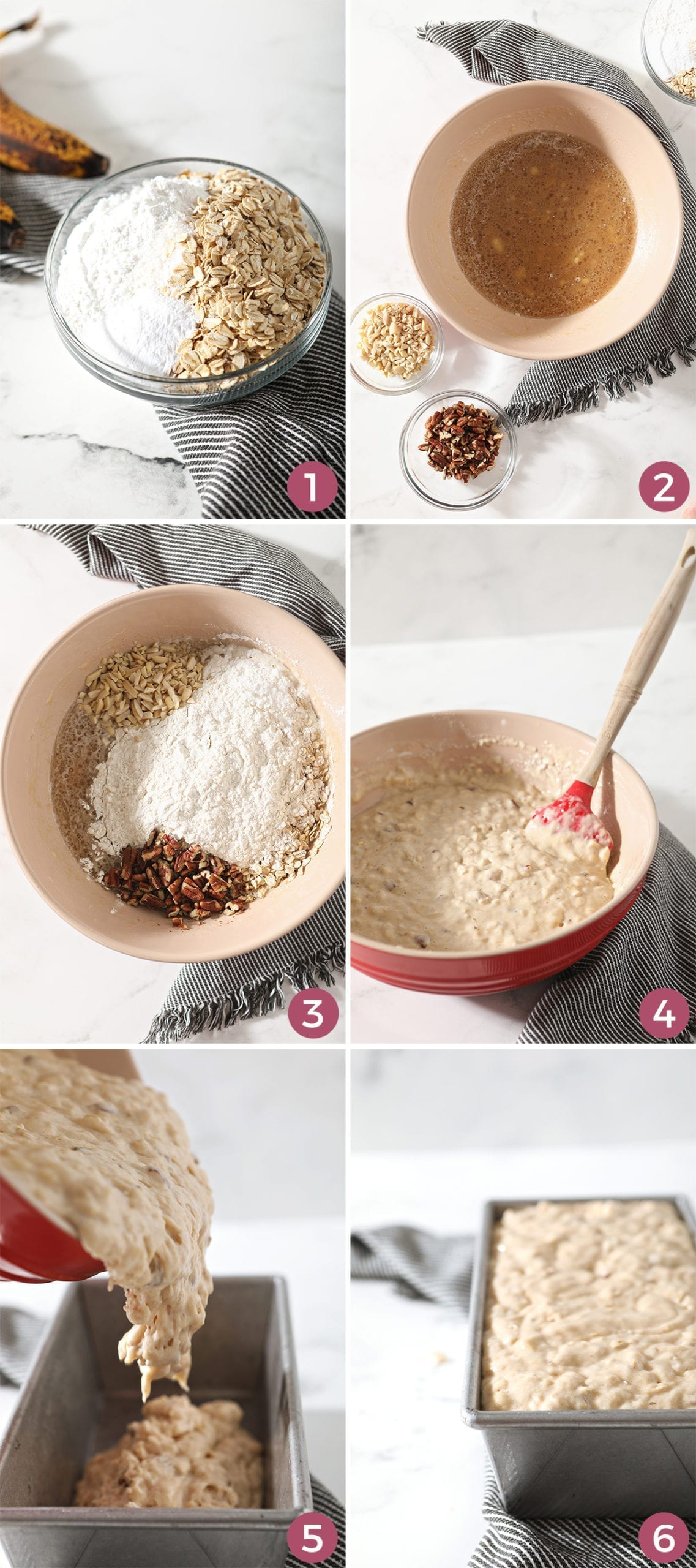 Collage of dry ingredients that go into making the bread, including six images showing step by step how to make it