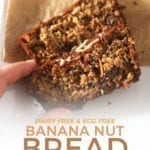 A woman grabs a slice of Eggless Banana Bread, close up, with Pinterest text