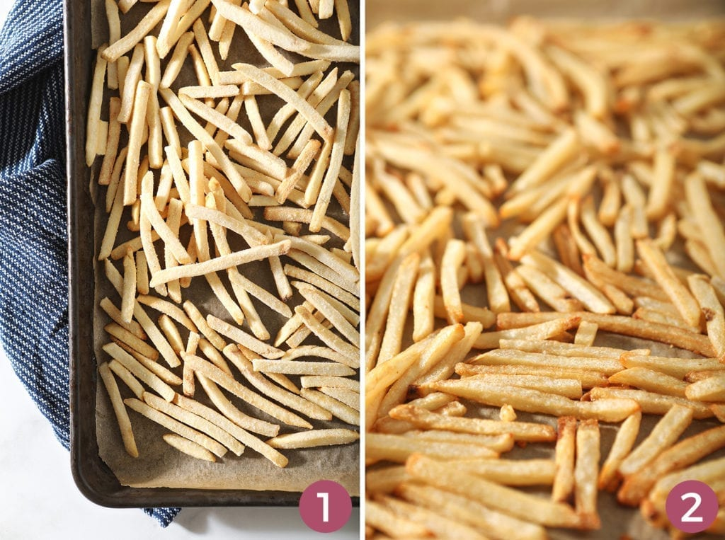 Collage of two images of french fries, before and after baking
