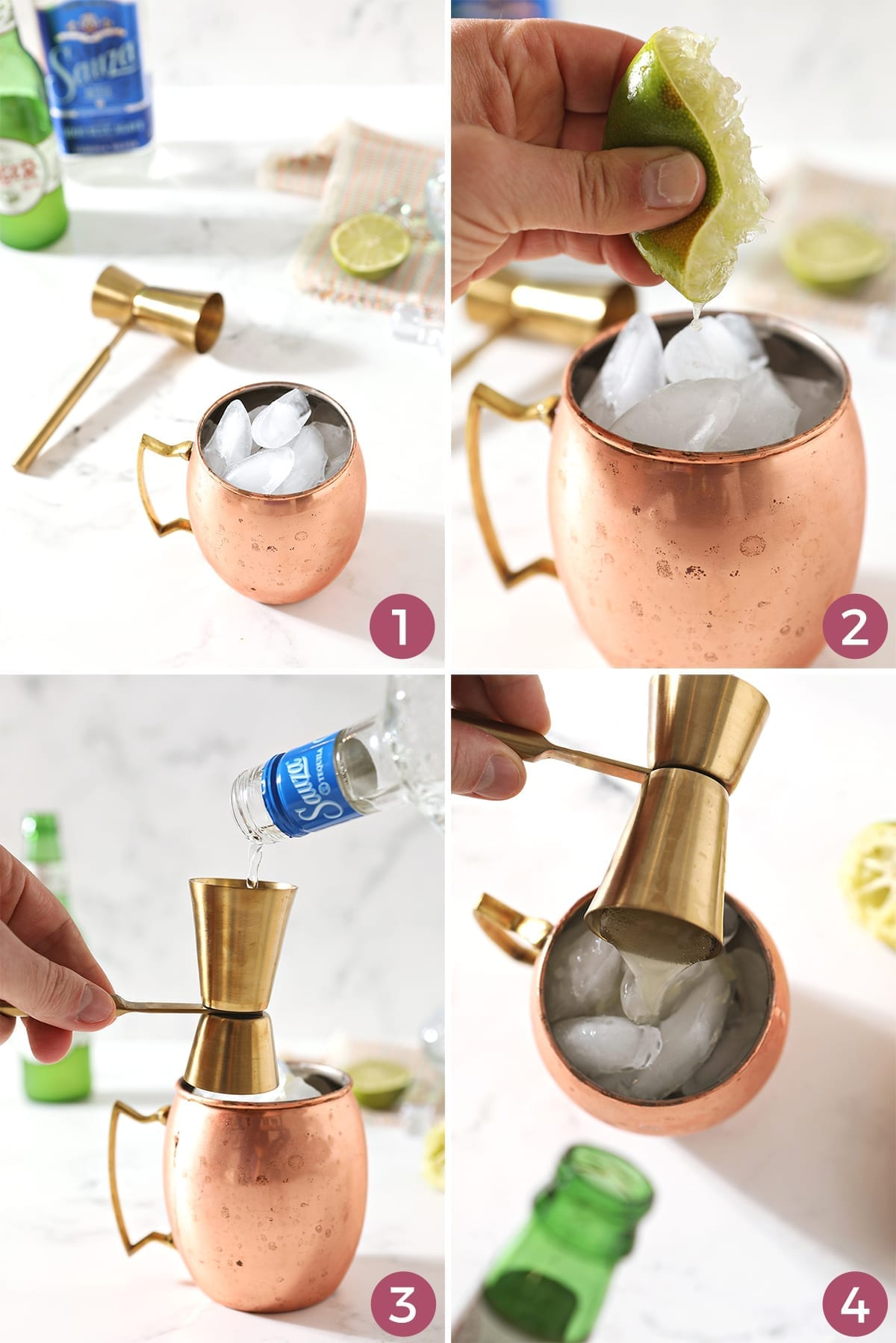 Collage of four images showing how to mix a Moscow Mule with tequila