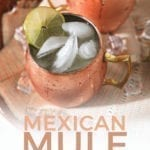 Close up of two Mexican Mules on a platter, with Pinterest text
