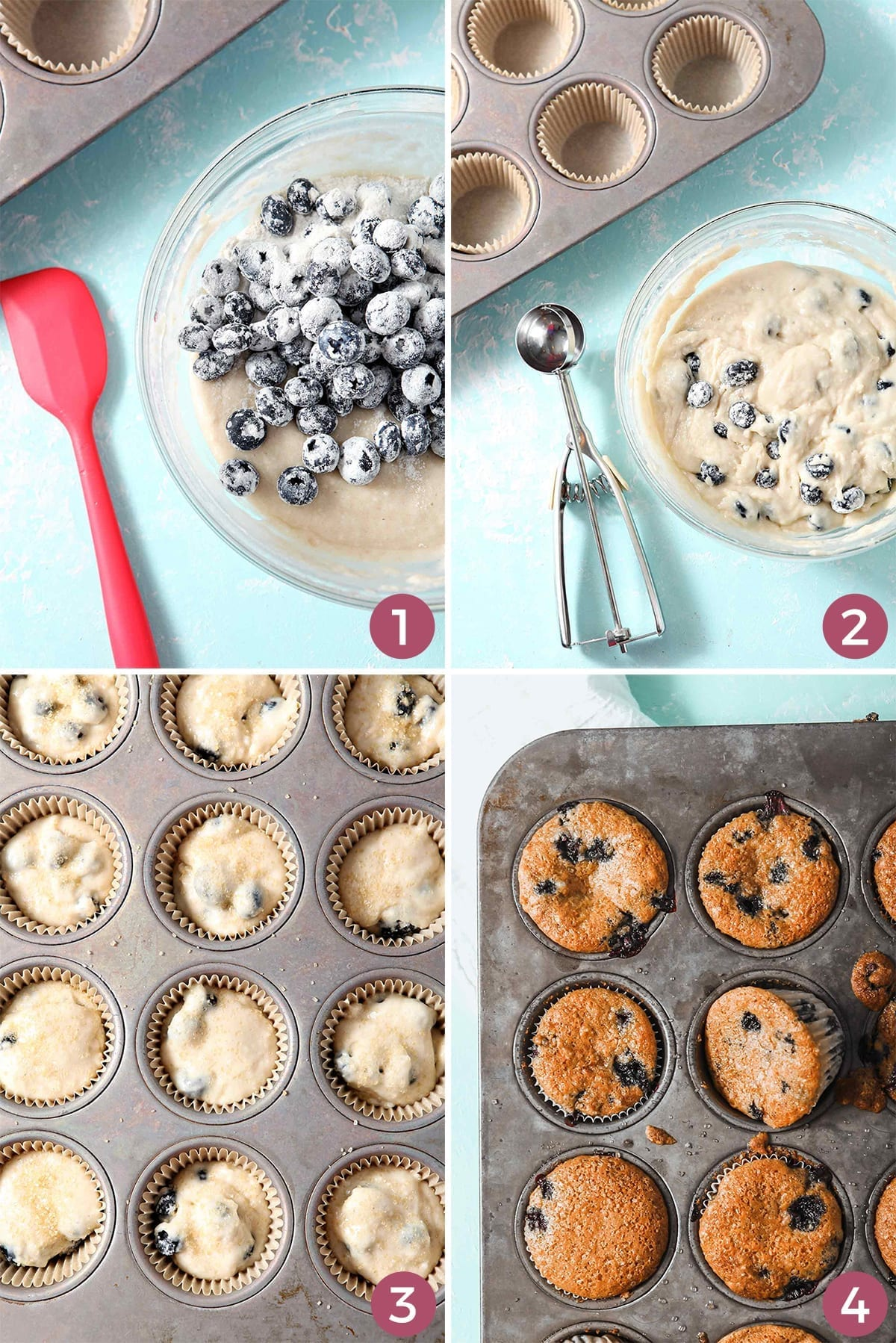 Collage of four images showing how to make Vegan Blueberry Muffins