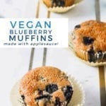 Three Vegan Blueberry Muffins on a marble serving platter, with Pinterest text