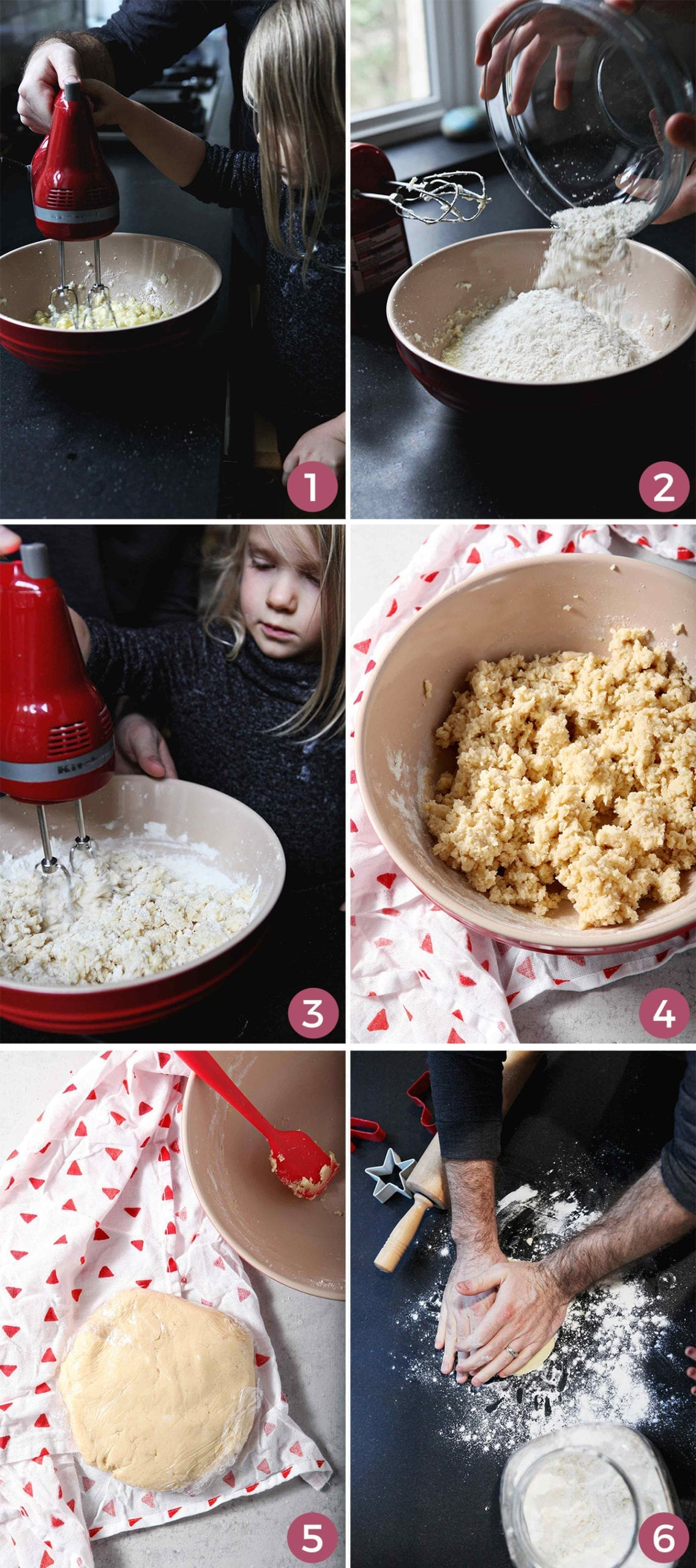 A collage of six images shows how to mix and form the cookies before they are baked