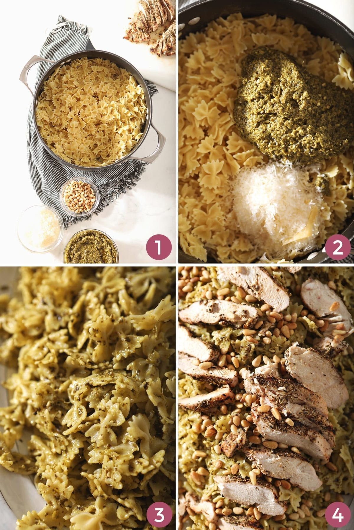 Collage of four images showing how to put together the pesto salad with chicken