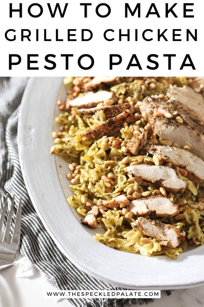 A platter holds the Chicken Pesto Pasta, before serving