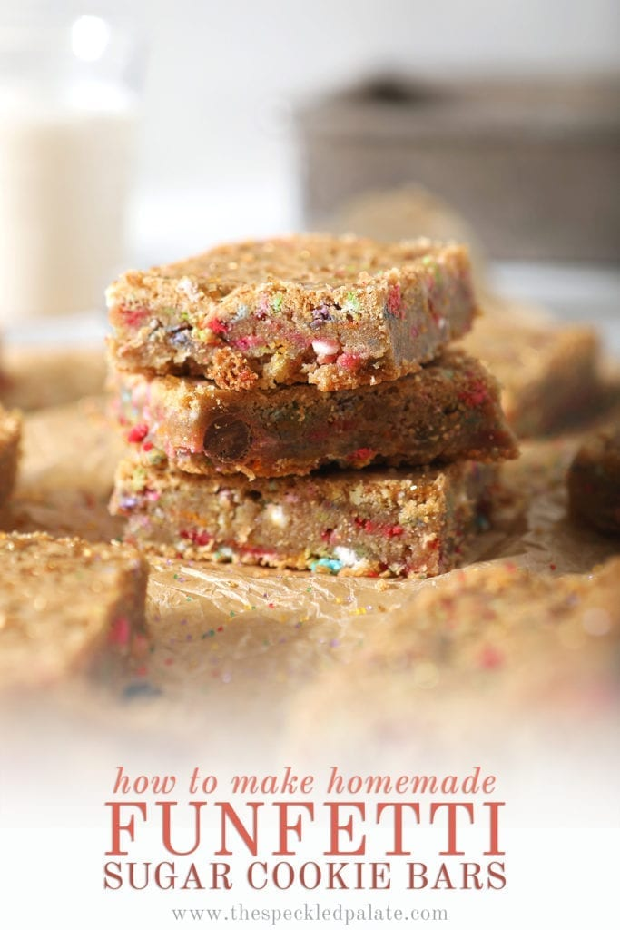 A stack of cookie bars with the text 'How to make homemade Funfetti Sugar Cookie Bars'