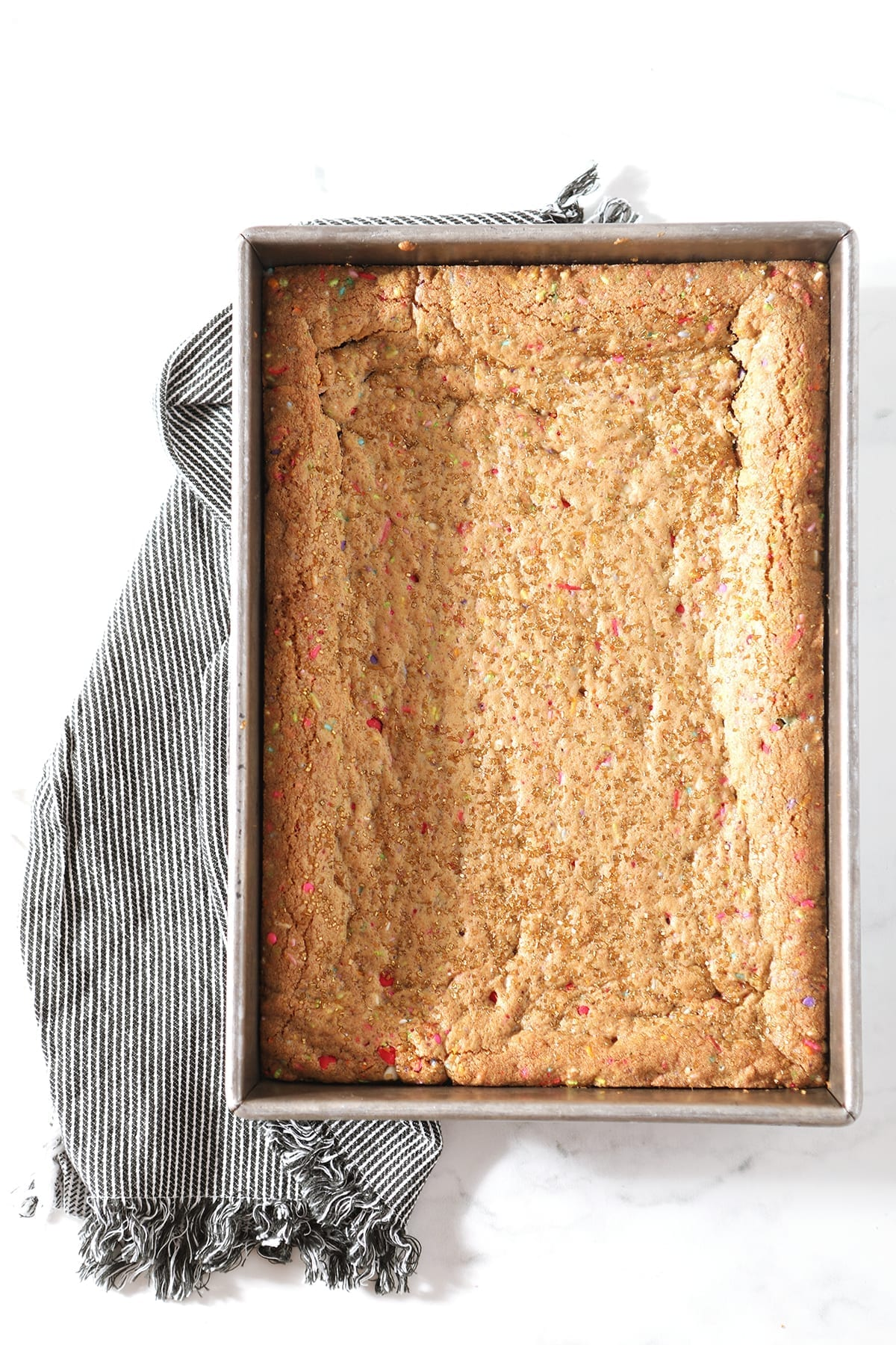 Cookie bars in a baking pan, from above